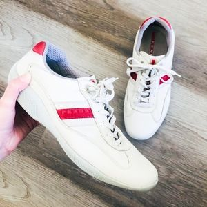 Prada Mens Red and White Sneakers 7.5